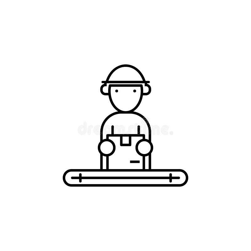 фабрика, упаковка, значок коробок Элемент значка продукции для передвижных apps концепции и сети Тонкая линия фабрика, упаковка,  иллюстрация вектора