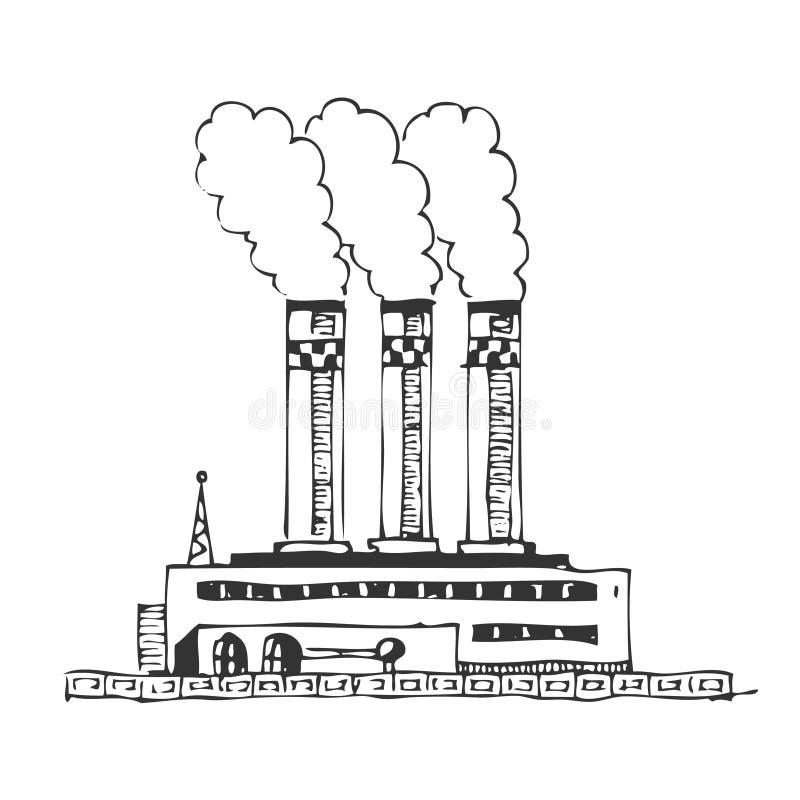 Картинки завода с трубами карандашом