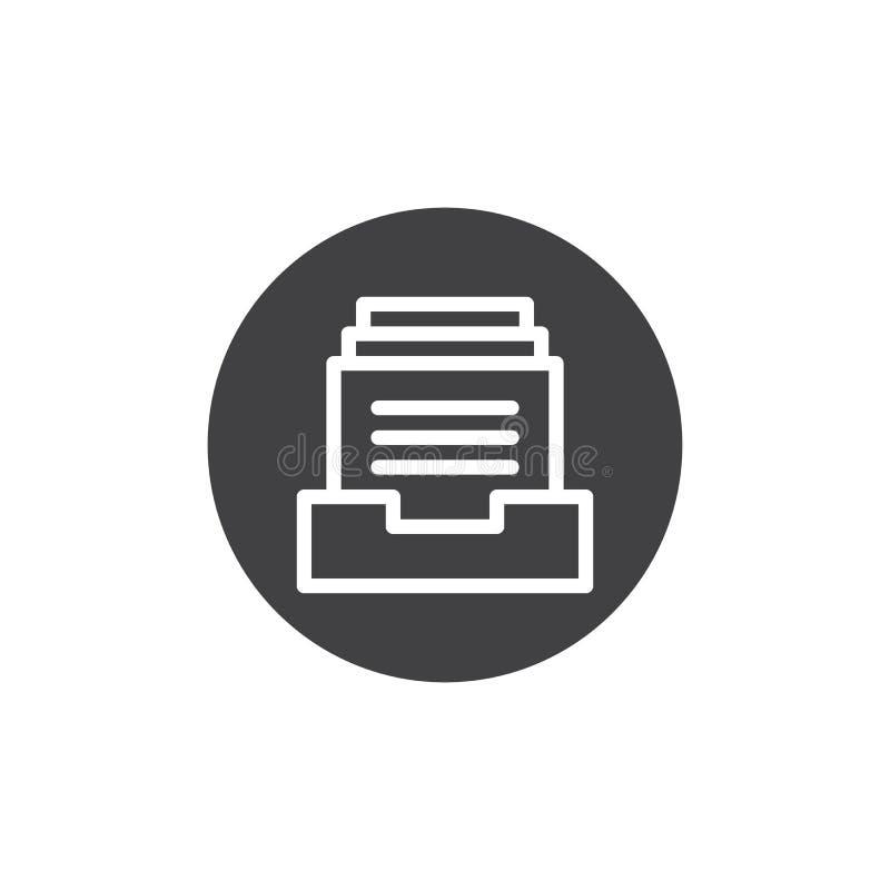 Файлы в векторе значка коробки иллюстрация вектора