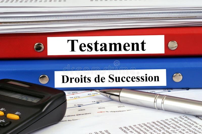 Файлы завета и права унаследования на штабелированном французском стоковые фотографии rf