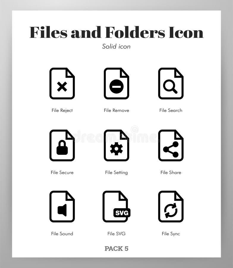 Файлы и пакет значков папок твердый иллюстрация штока