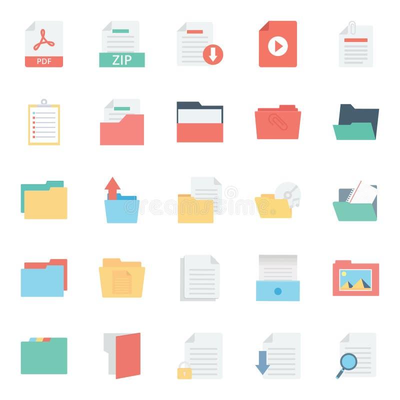 Файлы и папка изолировали значки вектора устанавливают каждую папку или значки файлов могут быть легко цветом доработанным или от иллюстрация вектора