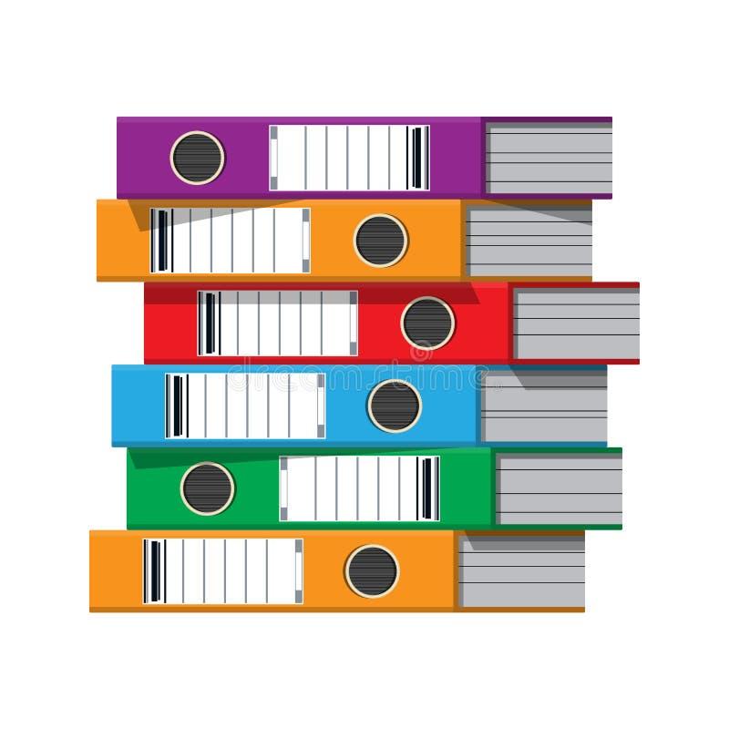 Файлы, связыватели кольца, красочные папки офиса иллюстрация штока