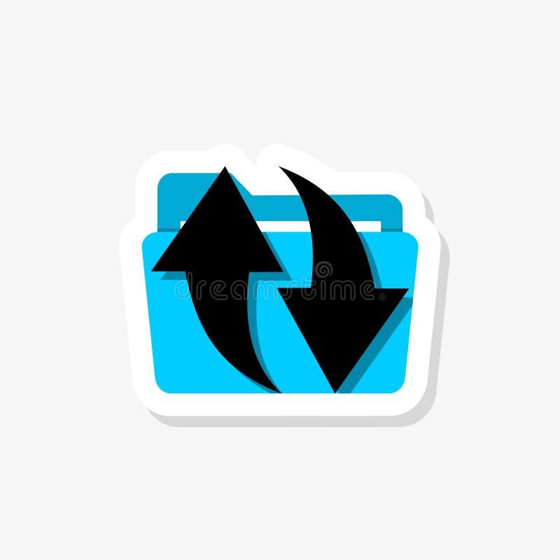 Файл обменивая значок стикера Папка, документ, информация Концепция синхронизации иллюстрация вектора