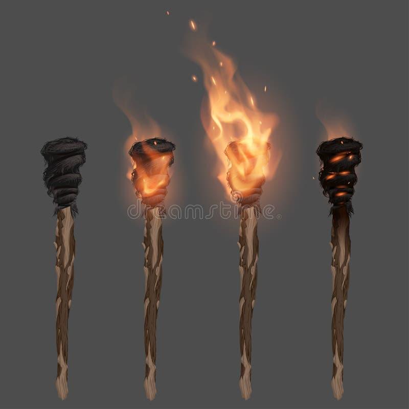 Факел с пламенем иллюстрация вектора
