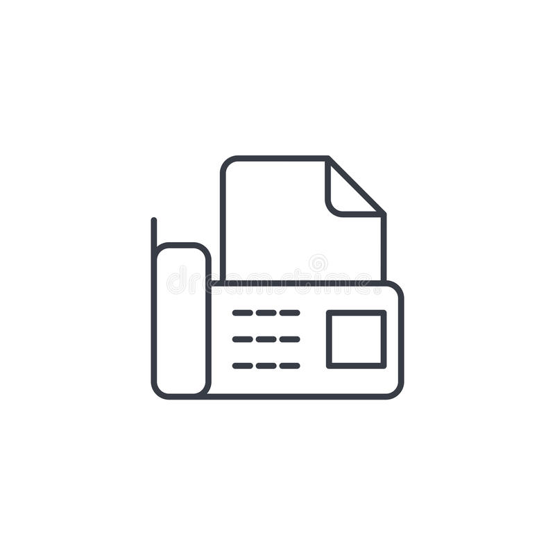 Факс телефона офиса, цифровой телефон, документирует тонкую линию значок Линейный символ вектора иллюстрация вектора