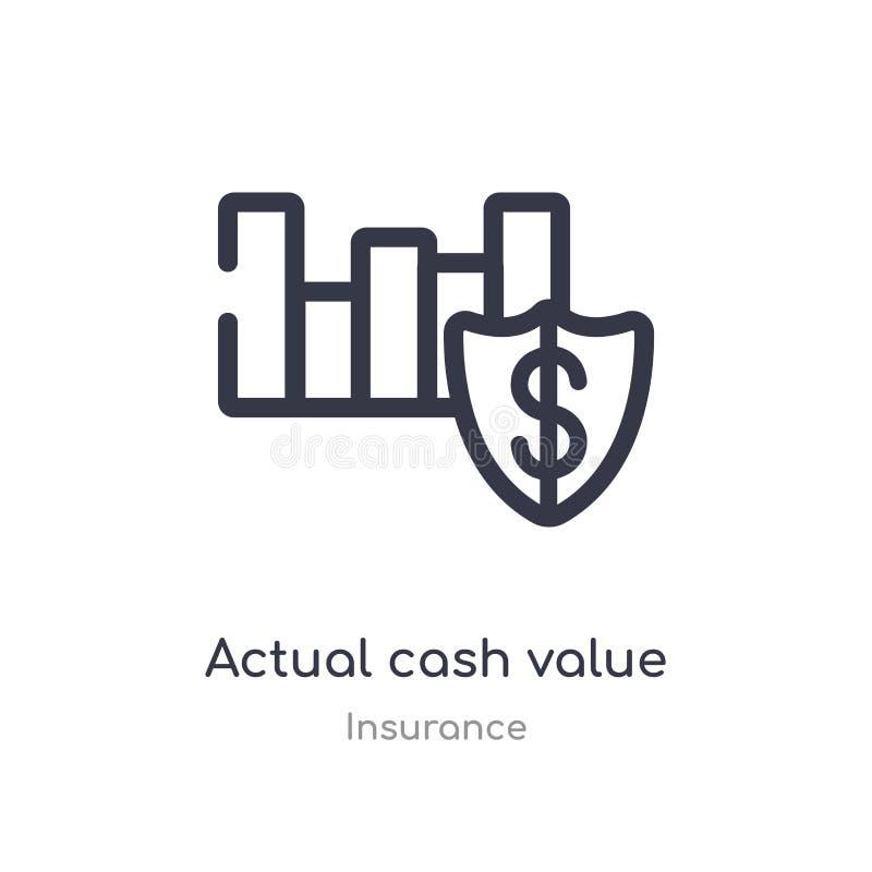 фактический значок плана стоимости в наличных деньгах изолированная линия иллюстрация вектора от собрания страхования наличные де бесплатная иллюстрация