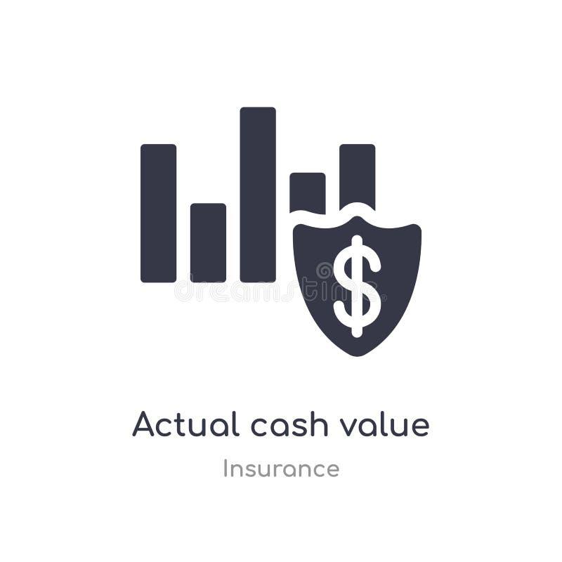 фактический значок стоимости в наличных деньгах изолированная фактическая иллюстрация вектора значка стоимости в наличных деньгах иллюстрация вектора