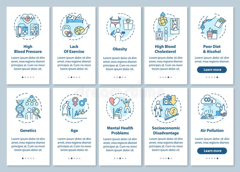 факторы риска сердечно-сосудистых заболеваний на экране мобильного приложения с установленными концепциями бесплатная иллюстрация