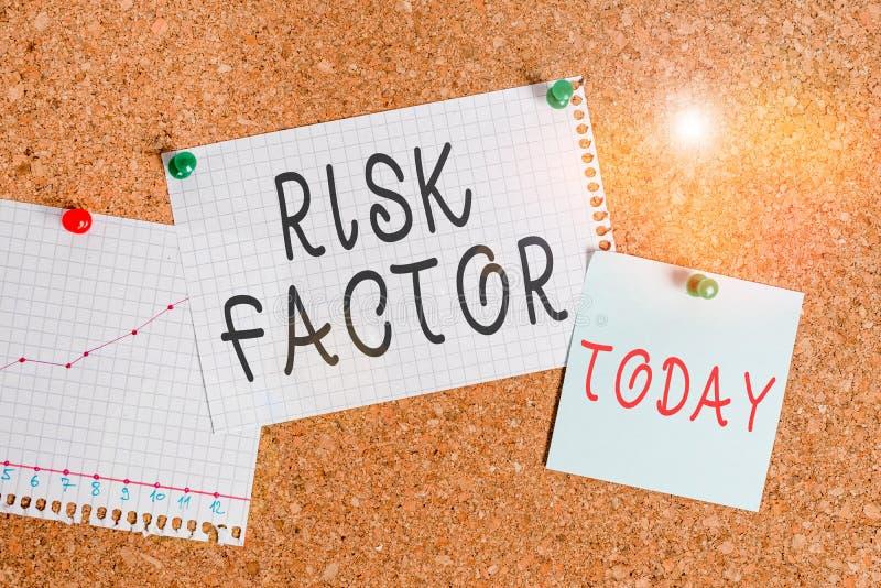 Фактор риска при записи текста в Word бизнес-концепция для поведения условия или другого фактора, повышающего опасность corkboard стоковое изображение