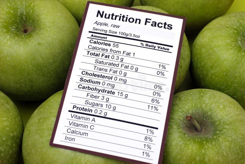 Факты питания сырцовых яблок стоковая фотография