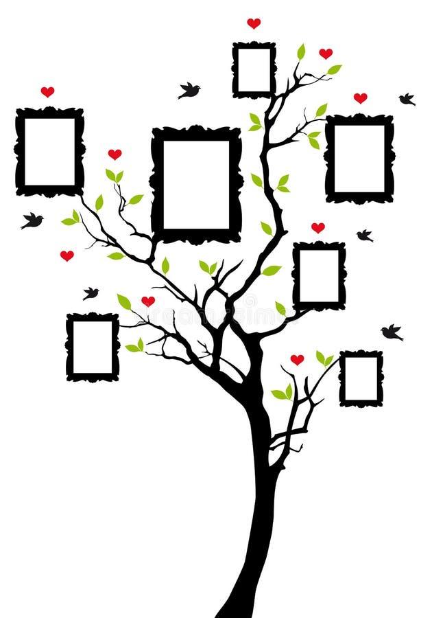 Фамильное дерев дерево с рамками, вектор иллюстрация вектора