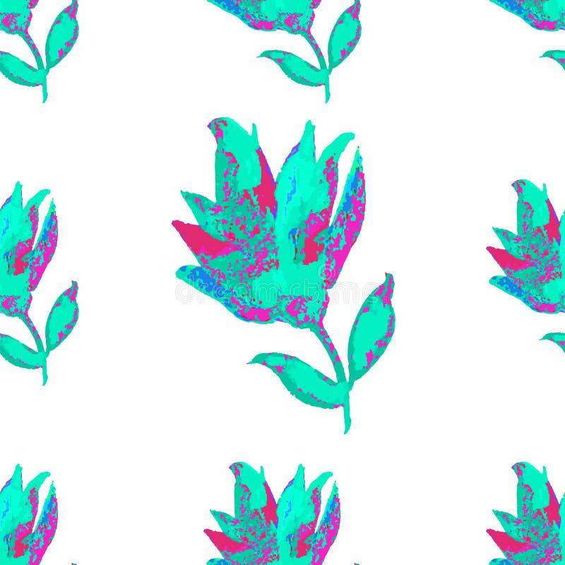 Фантазия безшовного цветка картины голубая на белизне бесплатная иллюстрация
