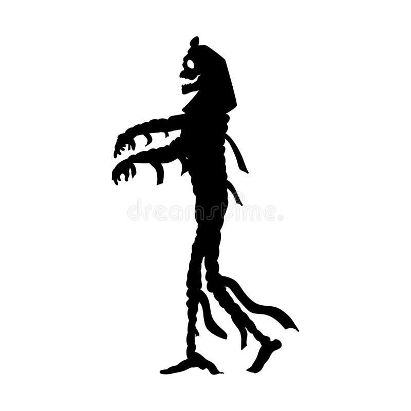 Фантазия изверга силуэта хеллоуина мумии страшная иллюстрация штока