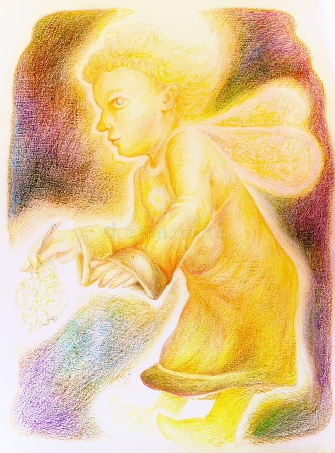 Фантазия меньший яркий ангел летания с fairy крылами бесплатная иллюстрация