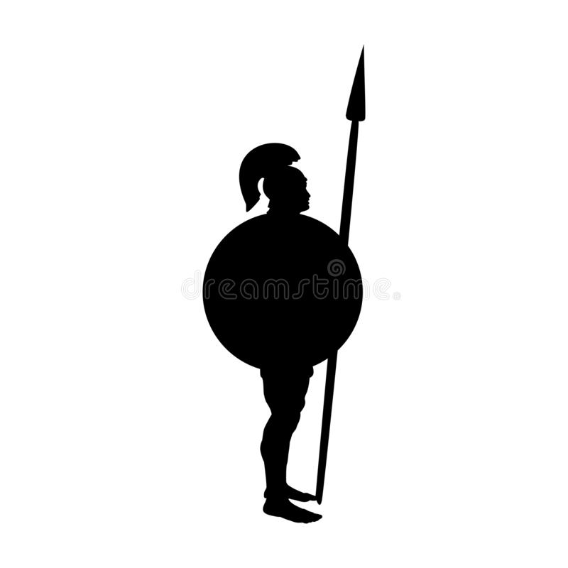 Фантазия мифологии силуэта войны бога Ares старая бесплатная иллюстрация