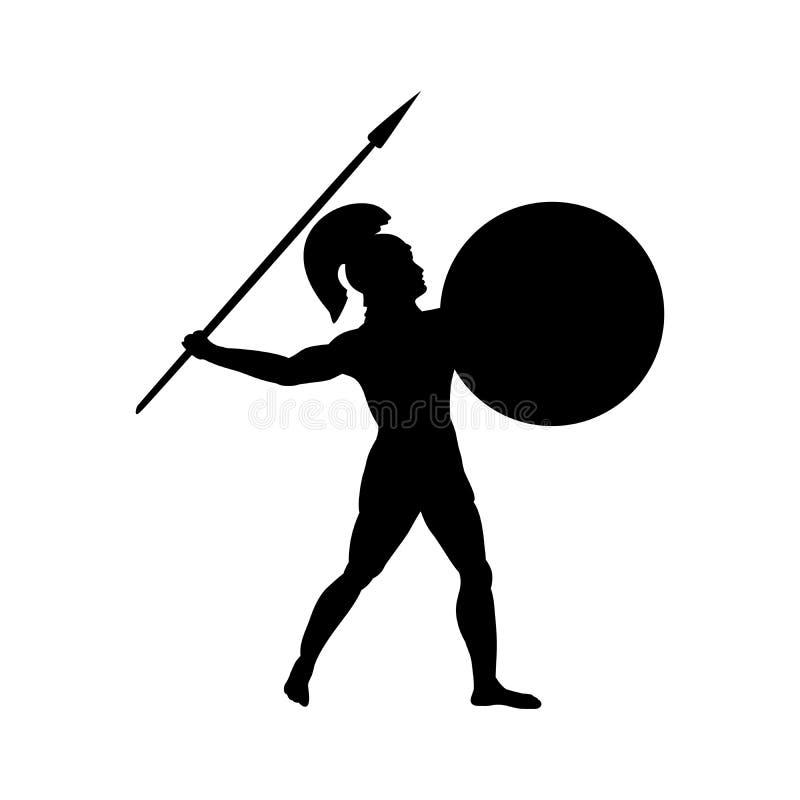 Фантазия мифологии силуэта войны бога Ares старая иллюстрация штока