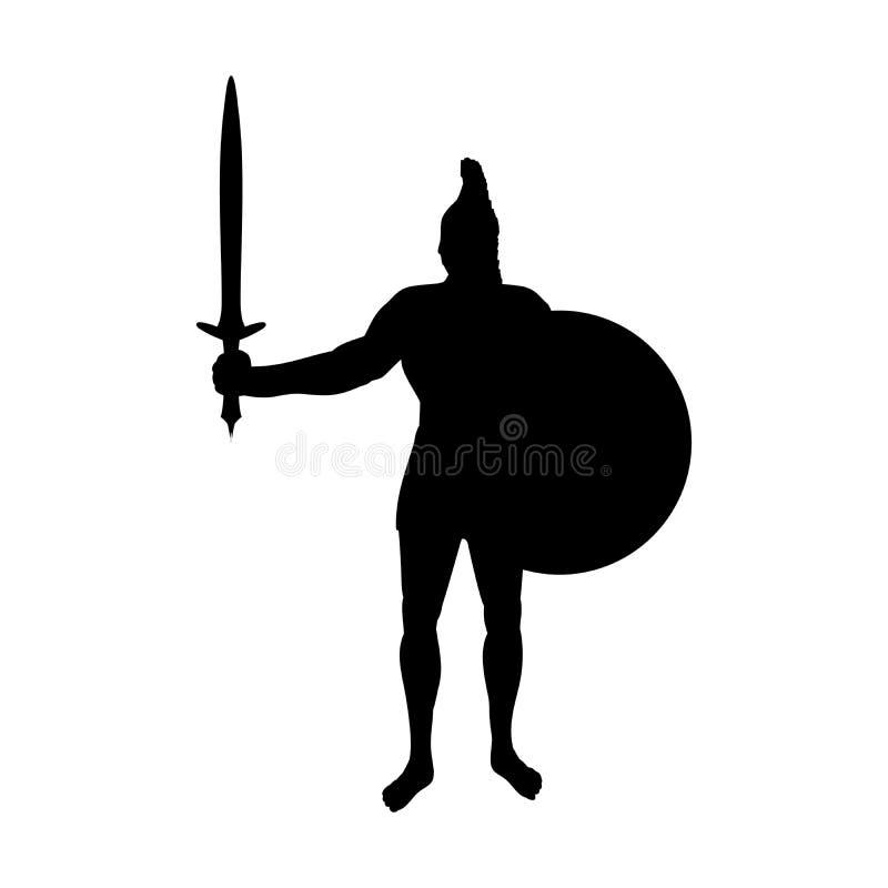 Фантазия мифологии силуэта войны бога Ares старая иллюстрация вектора