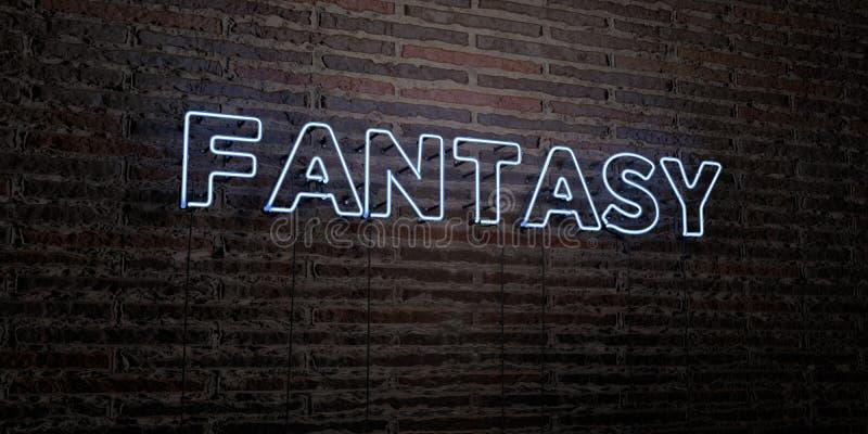 ФАНТАЗИЯ - реалистическая неоновая вывеска на предпосылке кирпичной стены - представленное 3D изображение неизрасходованного запа бесплатная иллюстрация