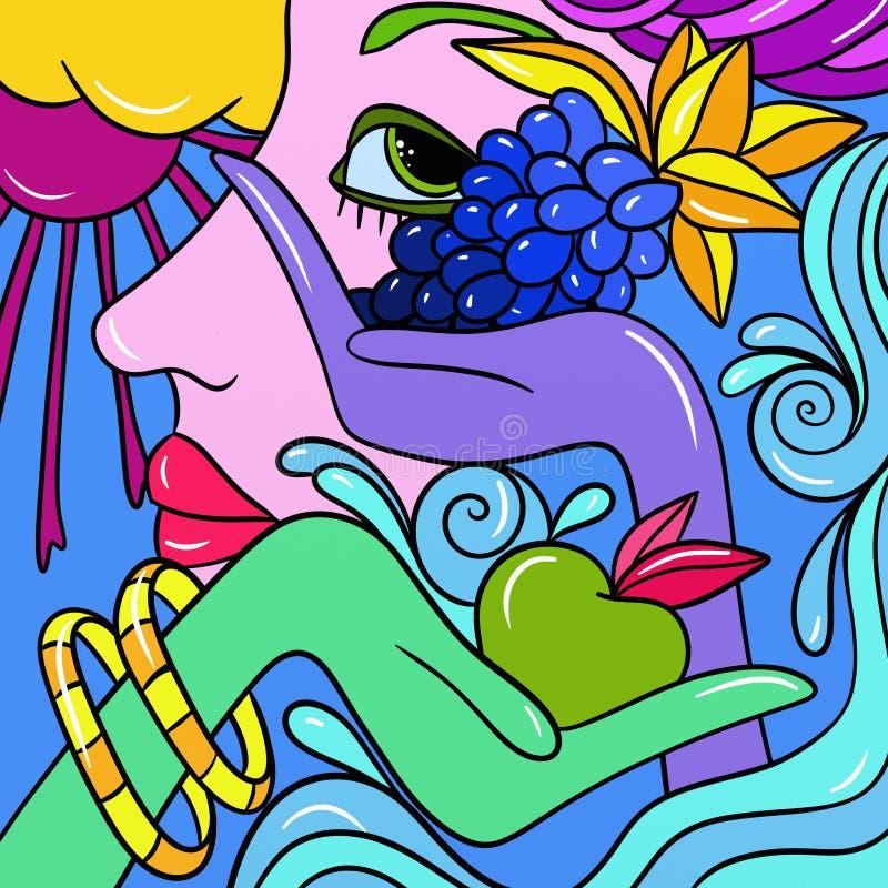 Фантазия с плодоовощ в руке иллюстрация вектора
