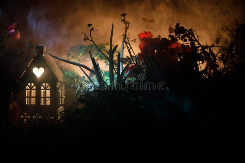 Фантазия украсила фото Малый красивый дом в траве с светом Старый дом в лесе на ноче с луной Селективный фокус стоковое фото rf