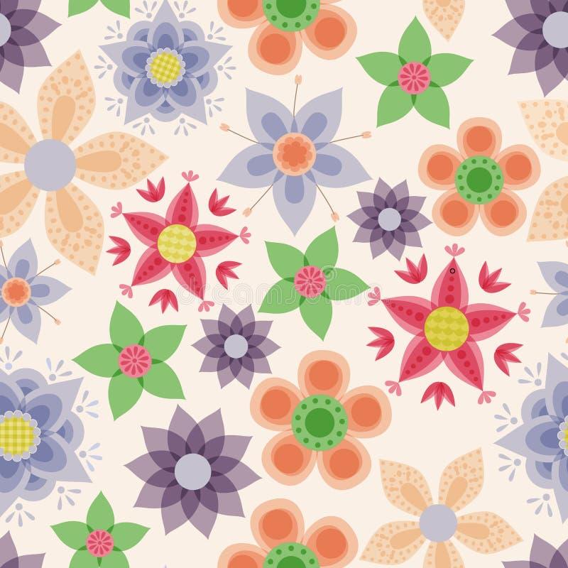 Фантазия цветет винтажная безшовная картина бесплатная иллюстрация
