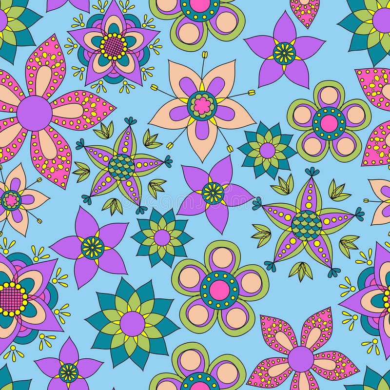 Фантазия цветет красочная безшовная картина иллюстрация вектора