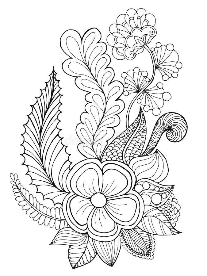Фантазия цветет страница расцветки иллюстрация вектора