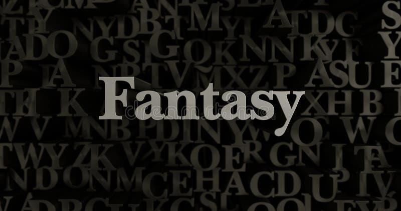 Фантазия - 3D представило металлическую typeset иллюстрацию заголовка иллюстрация штока