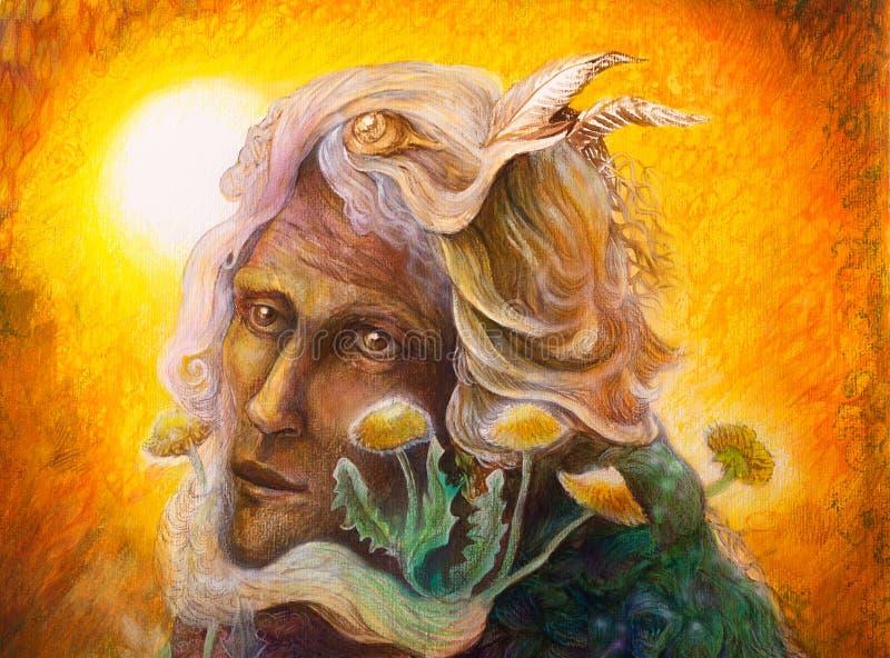 Фантазия elven fairy портрет человека с одуванчиком, красочным иллюстрация вектора