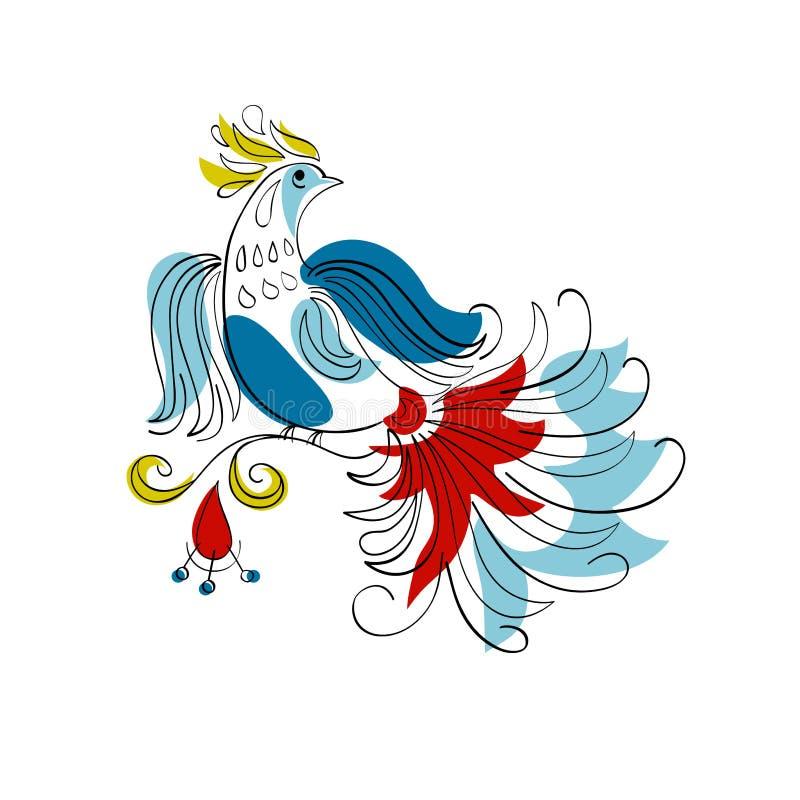 Фантазия Firebird в русском орнаментальном стиле бесплатная иллюстрация