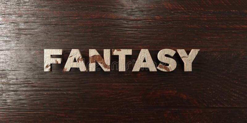 Фантазия - grungy деревянный заголовок на клене - представленное 3D изображение неизрасходованного запаса королевской власти иллюстрация штока