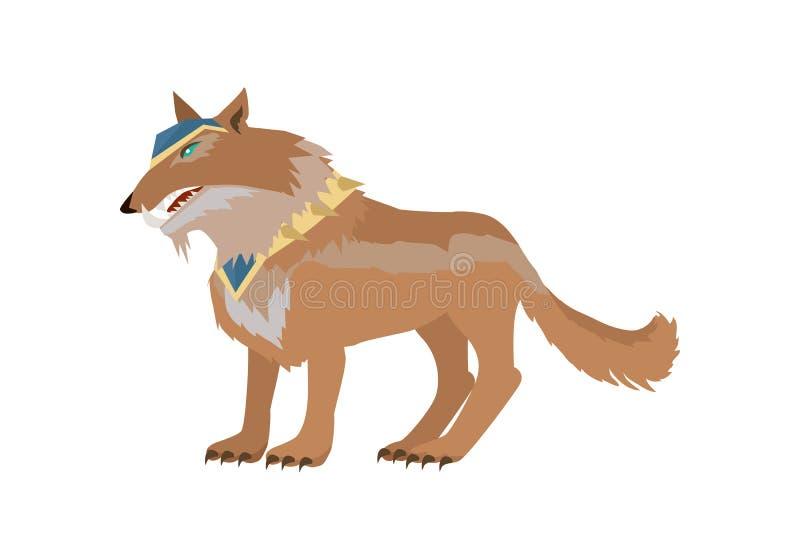 Фантастическая иллюстрация вектора волка в плоском дизайне иллюстрация штока