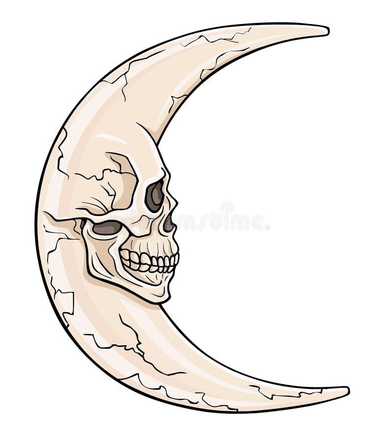 Фантастическая луна в форме человеческого черепа иллюстрация штока