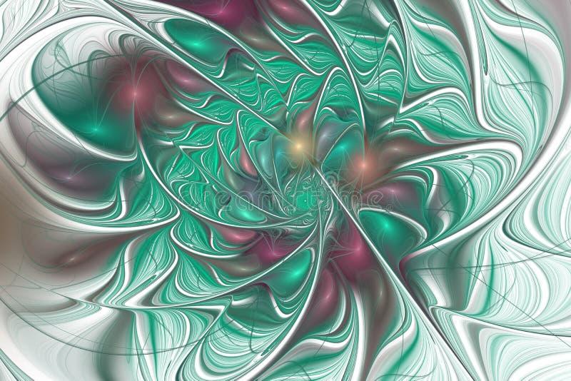 Фантастическая флористическая картина фрактали в зеленом цвете иллюстрация вектора