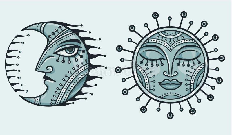 Фантастические железные луна и солнце иллюстрация штока
