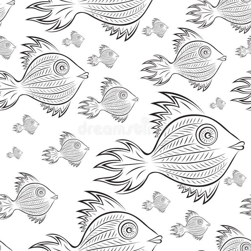 Фантастические рыбы - абстрактное акватическое животное Черно-белый линейный вектор повторяя картину на белой предпосылке иллюстрация штока