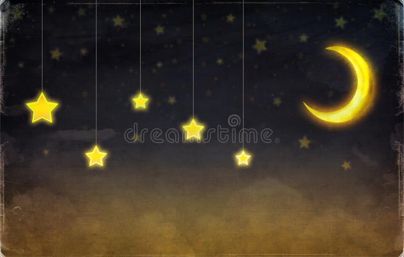 Фантастические луна и звезды иллюстрация штока