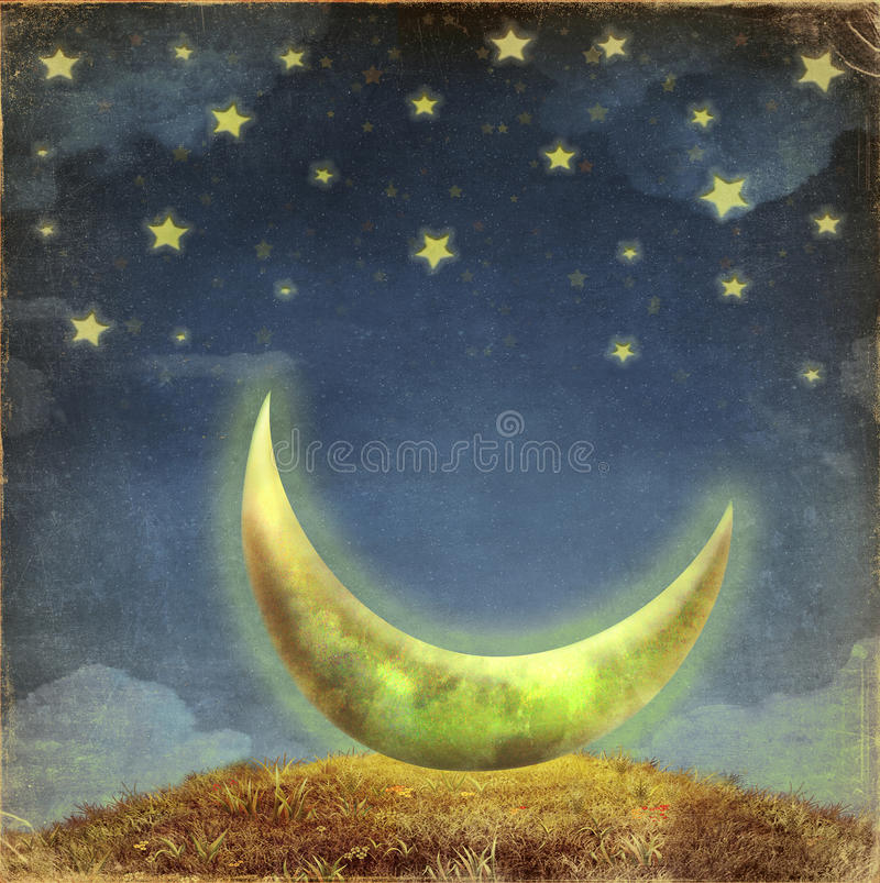 Фантастические луна и звезды иллюстрация вектора