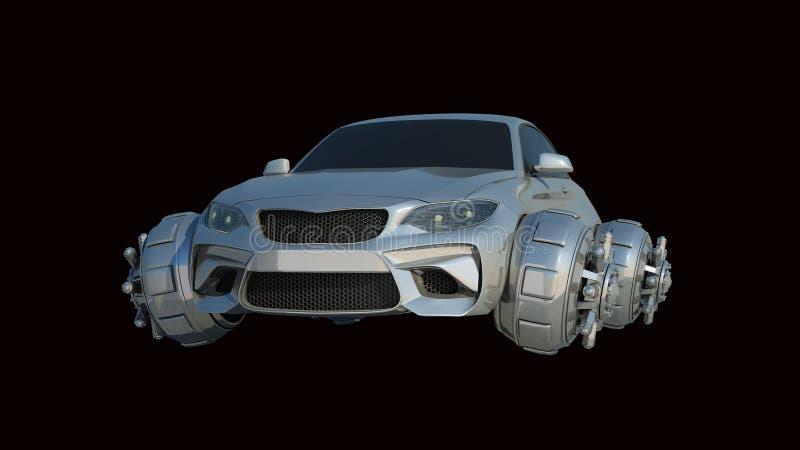 Фантастический автомобиль изолированный на черном переводе 3d иллюстрация вектора