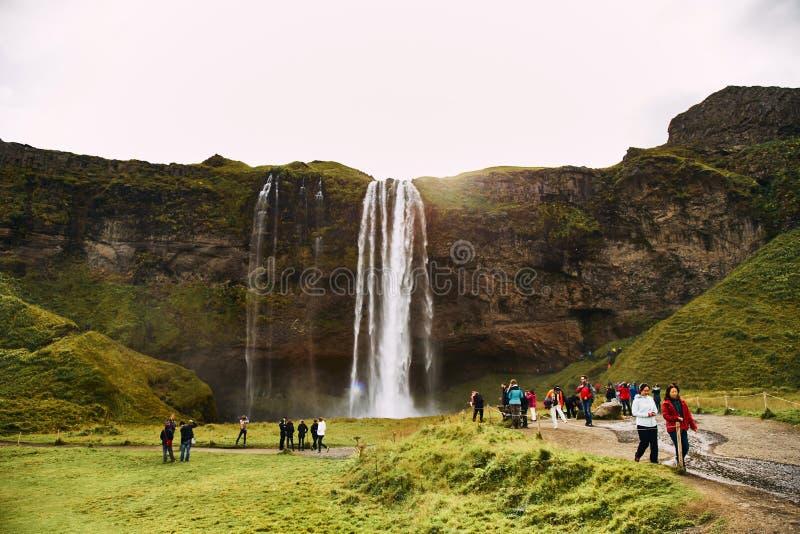 Фантастический водопад Seljalandsfoss в Исландии во время солнечного дня стоковое фото rf