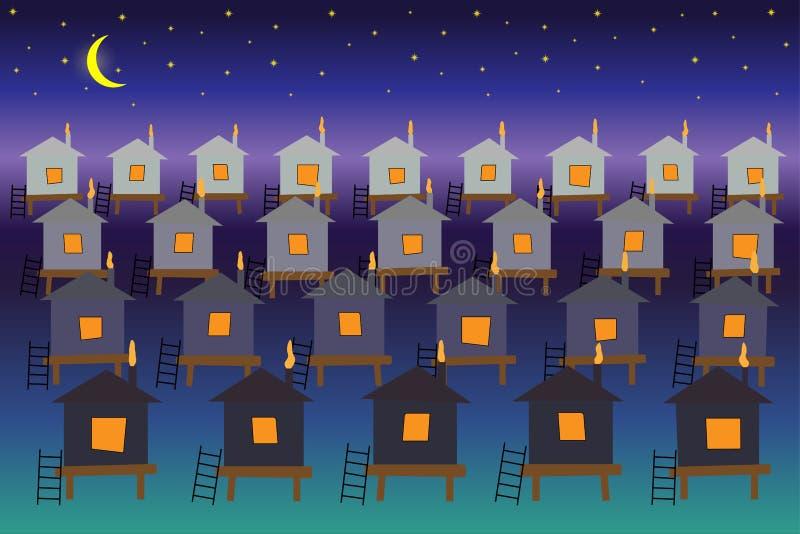Фантастический город домов на воде против фона неба звездной ночи иллюстрация вектора