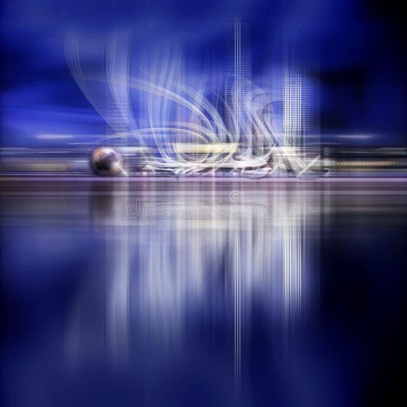 Фантастический город ночи будущего морем бесплатная иллюстрация
