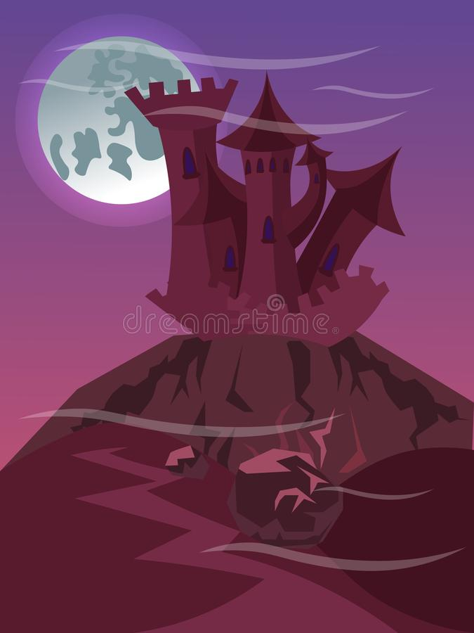 Фантастический замок на иллюстрации вектора скалы плоско иллюстрация вектора