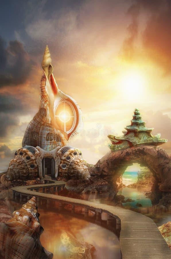 Фантастический замок иллюстрация штока