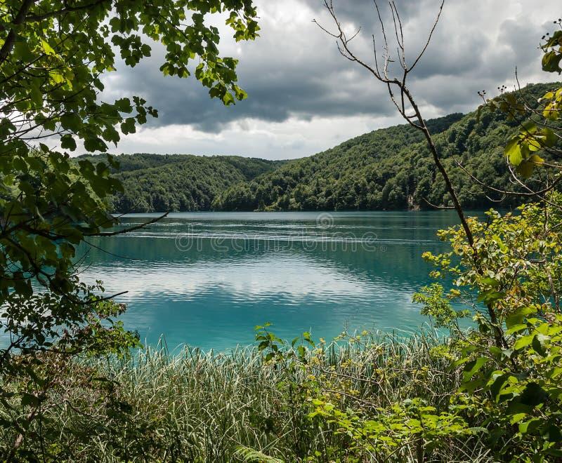 Фантастический ландшафт лазурного озера, окруженный зелеными холмами, раскрывая через ветви деревьев стоковое изображение rf