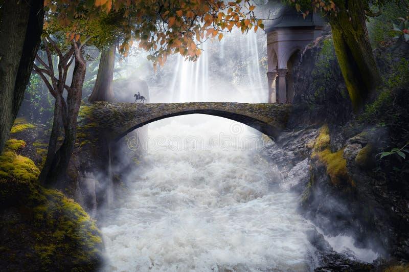 Фантастический пейзаж с мостовым камнем стоковое изображение rf