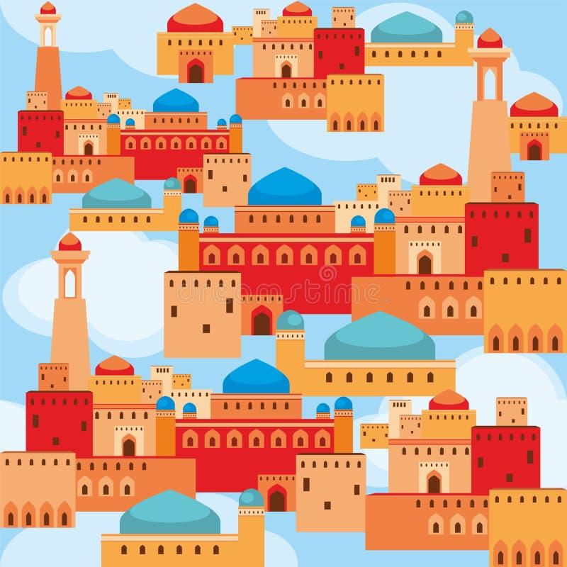 Фантастический древний город иллюстрация штока