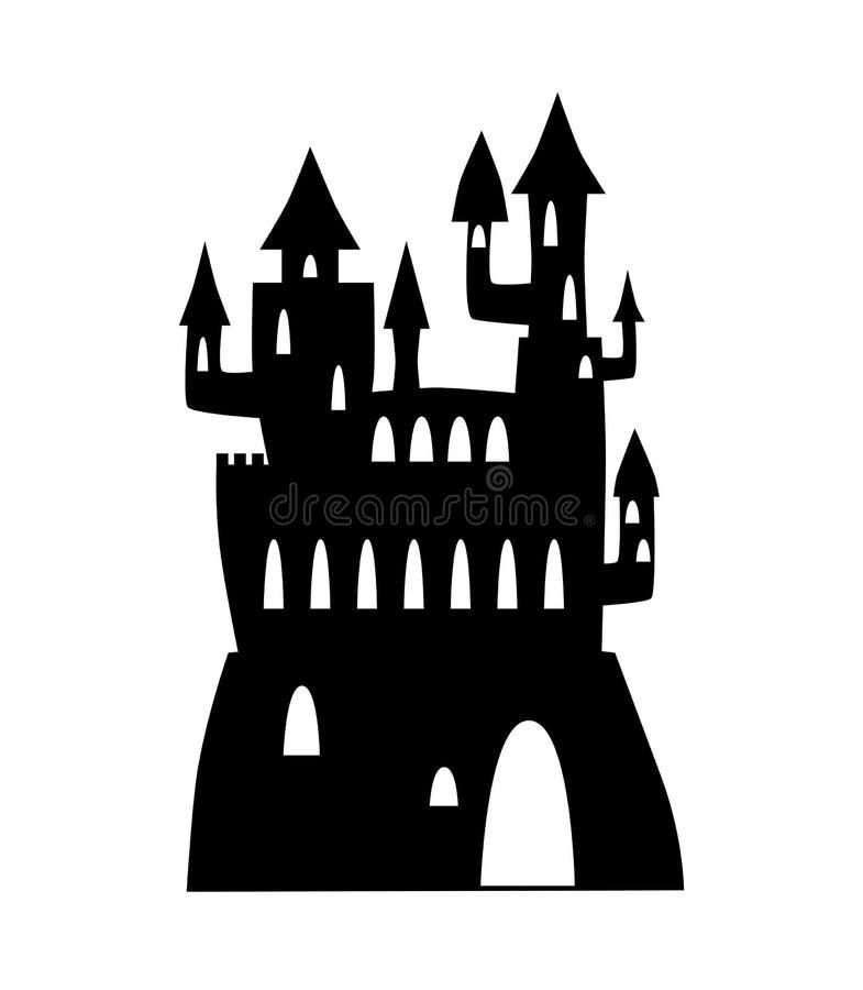 Фантастический силуэт черноты замка Иллюстрация вектора дворца сказки на белой предпосылке Силуэт замка иллюстрация штока