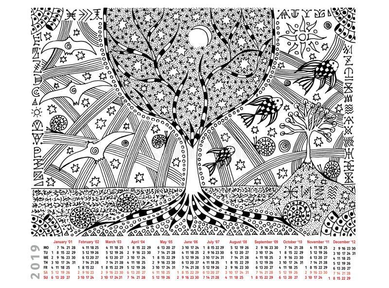 Фантастическое изображение с календарем 2019 Дерево жизни, все время, иероглифы Черно-белые графики иллюстрация штока
